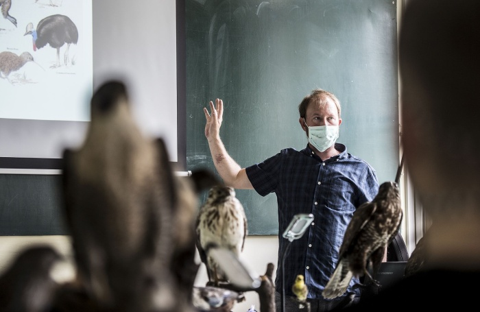 Scientist Radek Lučan back in the classroom after restrictions were lifted. May 2020.